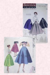 Butterick skirt patterns of the 1950s and showing full skirts perfect for teddy girls to wear when jiving.