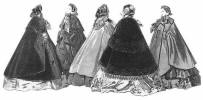 Picture of 5 cloaks 1850s. Costume history and fashion history of cloaks.
