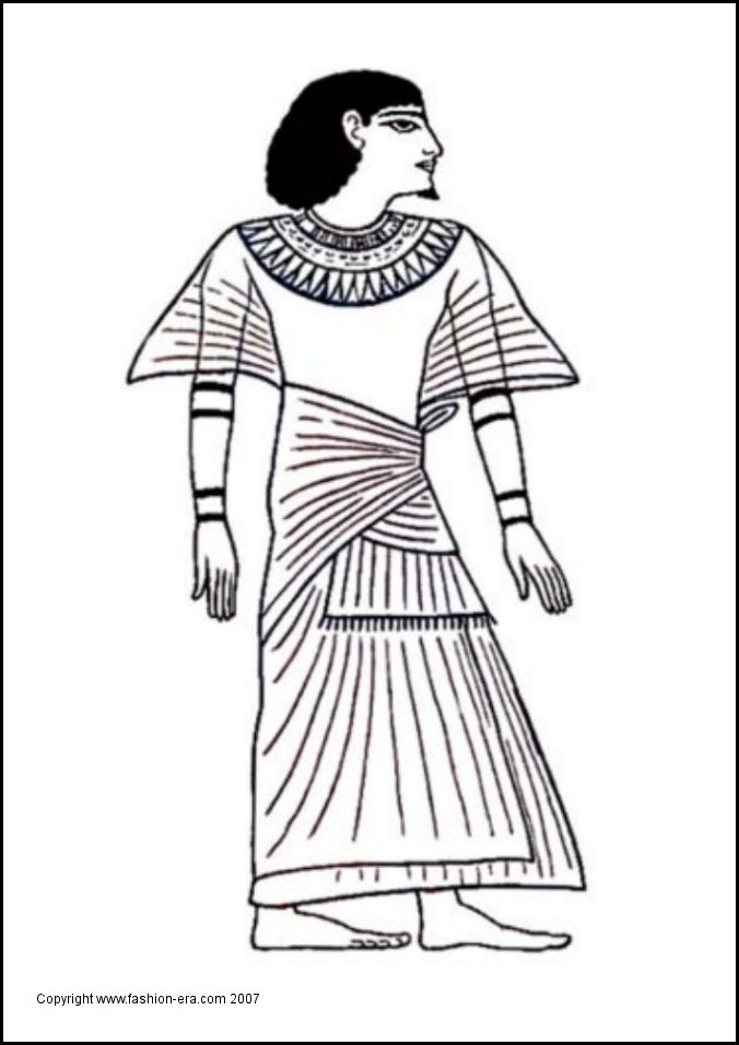 Ancient Egyptian King - Scribe Ani costume coloring-in picture. Line