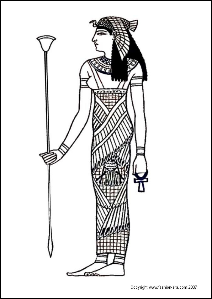 egyptian goddess colouring in costume picture line drawing sketch