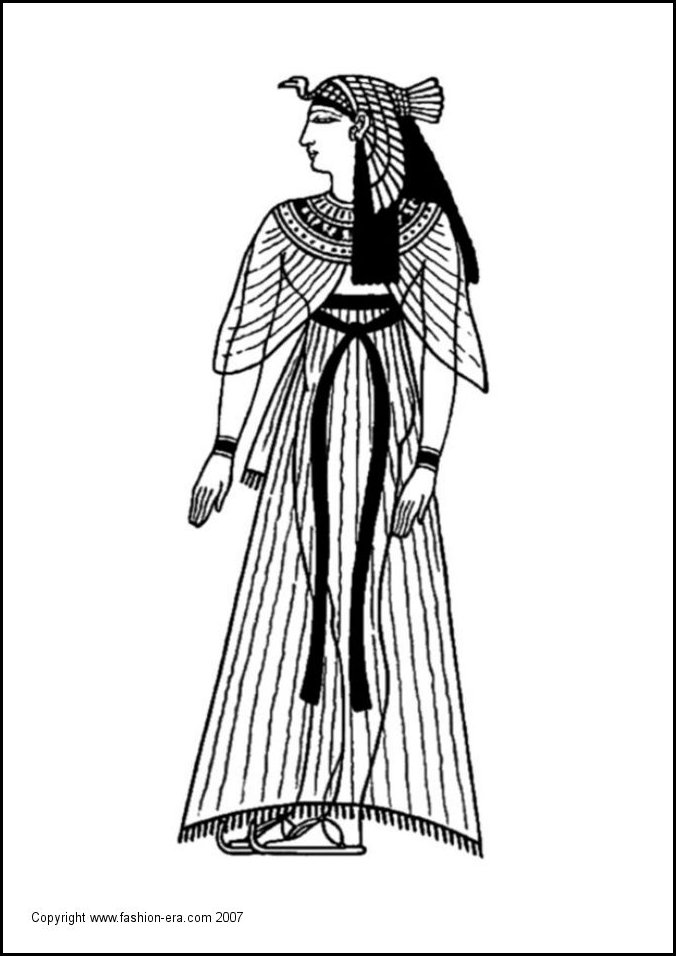 Colouring In Picture For School Use A Queen Of Ancient Egypt Line Drawing