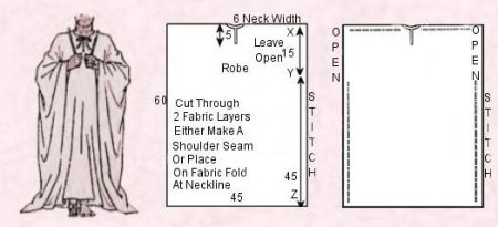 Rectangle Robe Guide Patterns and Tie Sash Instructions - Egyptian Stitched Rectangle Robe