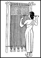Costume history on fashion-era.com - An Egyptian woman weaving cloth on a primitive upright loom.