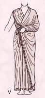 Model V is a late Egyptian costume style and dates from 500 B.C.