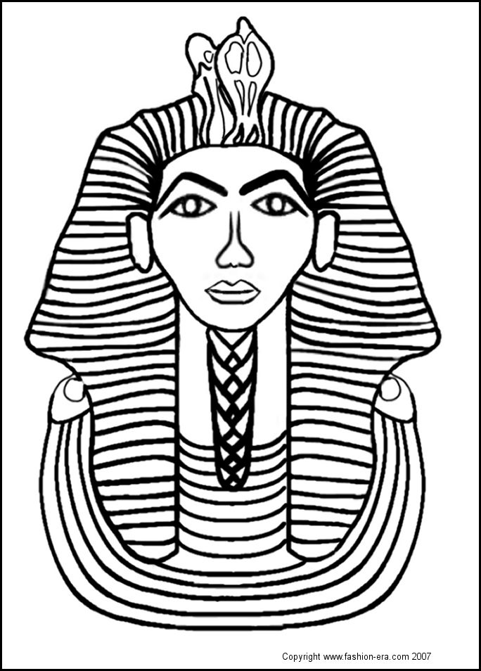 Free coloring pages of pharaoh mask for Egyptian masks templates
