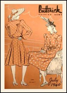 1940s Butterick Magazine Pattern Covers 1940 Shirt Style Military Line Dress