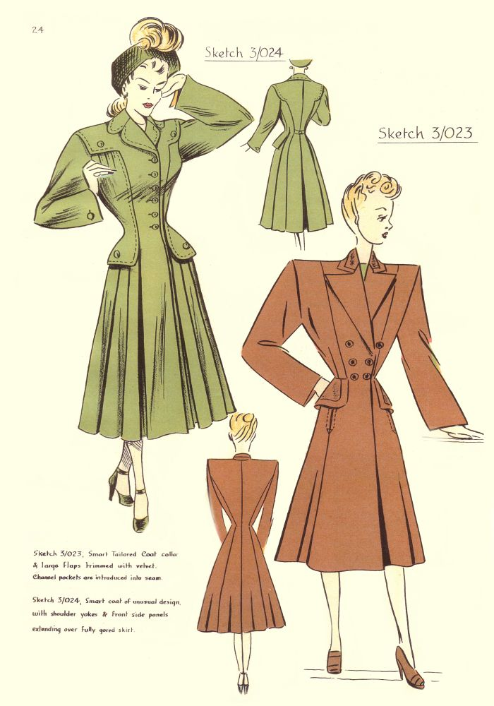 1940s Costume History - 1948 Pattern Cutting Fashion Pictures