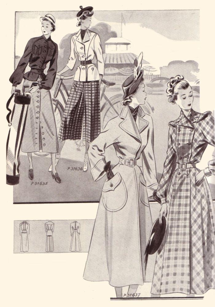 1940s era fashions via catalog reprints womens mens clothing