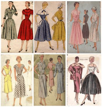 pattern covers of typicals 1950s fashion sewing patterns.