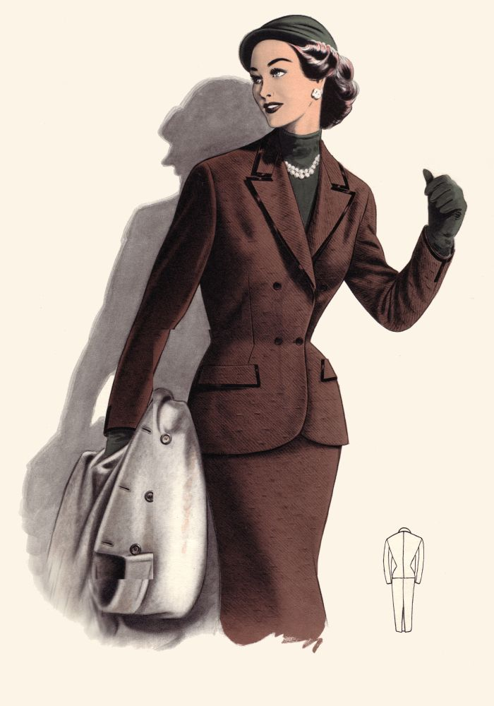 pictures of 1950s coats and costume suits fashion