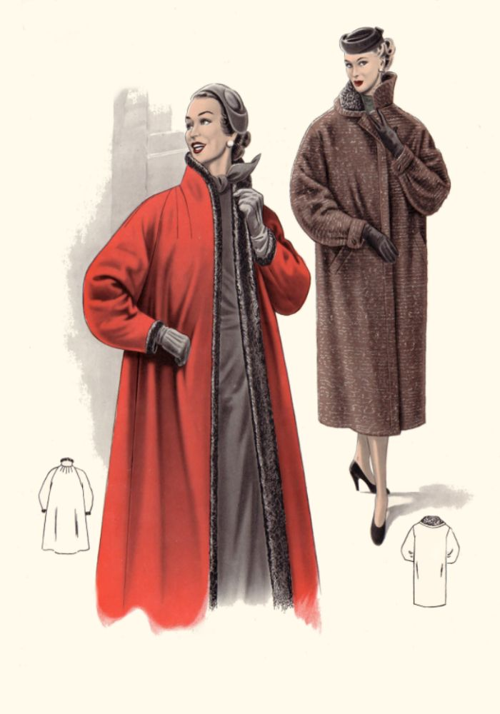 ... 1950s Edge to Edge Coat - 1955  sc 1 st  Fashion Era & Pictures of 1950s Coats and Costume Suits - Fashion History 1955 Plates