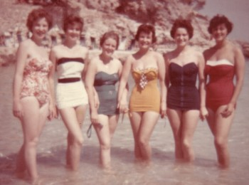 dress style bathing suits in the 50s