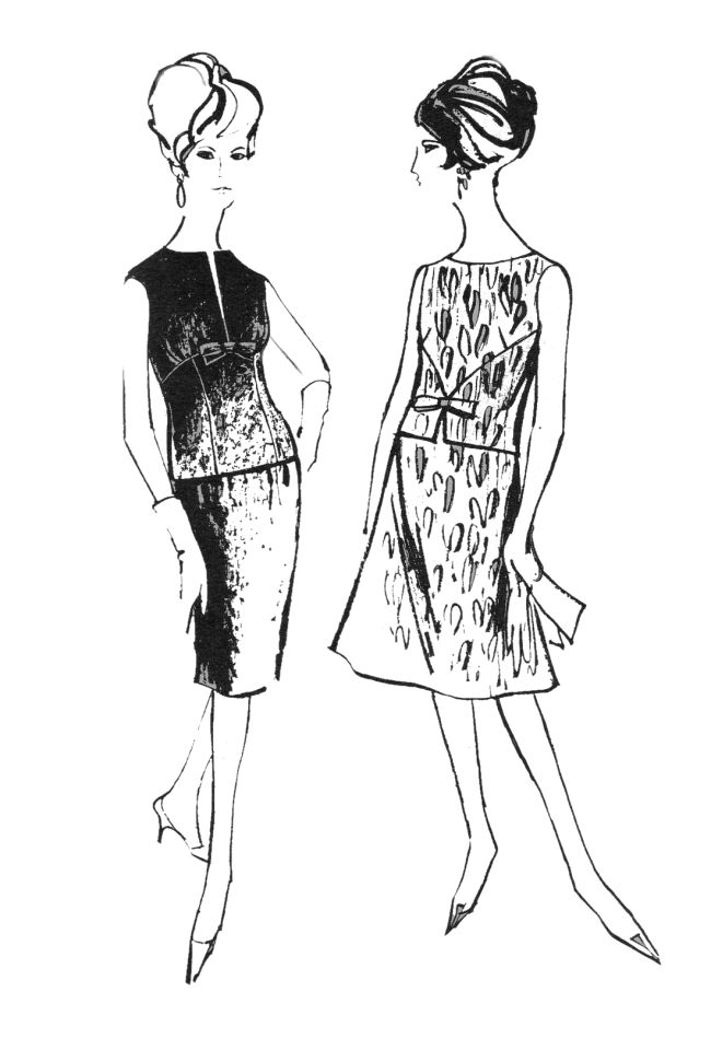 Line Art Fashion : S colouring in fashion line drawings for sewing patterns