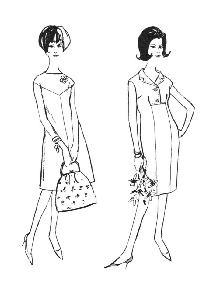 1960s Colouring In Fashion Line Drawings For Sewing Patterns Fashionable Coloring Pages 2