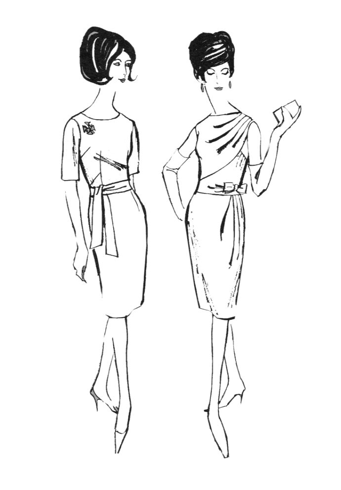 Line Drawing Styles : S colouring in fashion line drawings for sewing patterns
