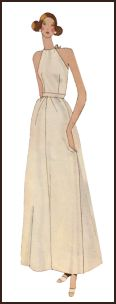 1971 Plain maxi dress pattern design