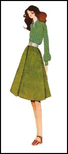 1970s Flared Skirt & Bloused Sleeves - 1971