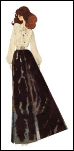 The maxi skirt worn with a ruffled or frilly blouse was a very easy option in 1971
