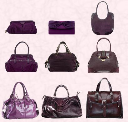 Top - Row 1 are from Billy Bag, the Jayne suede clutch at �55, at centre, value Marks and Spencer fabric evening clutch and elongated Billy Bag underarm bag - Sadie - �145. Middle - Row 2 first bag is a roomy Billy Bag called Mary at �95, the centre Billy Bag with gold chains, is Anoushka at �220.  Far right - the plum Jeanne XL frame bag from Dior at �1045 direct from the Dior online website.  Bottom - Row 3 - The bag on the left is a light purple grab bag with a wet look. It is obtainable at River Island Clothing Co. Ltd price �29.99.  In the centre is the distressed Dorothy Perkins rich plum purple bag �25 and the last satchel style leather bag far right, is from a varying selection at T.K.Maxx.
