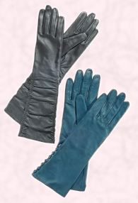 Right - Wallis long grey ruched leather gloves, �22, �36, long teal button detail gloves, �18, �30