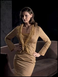 Vera Mont metal organza golden 3 piece suit.
