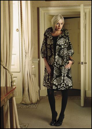 Emma Somerset Autumn/Winter 2007 - Occasion Wear - Brocade puff sleeve coat £325 and shift dress £99 by Oky Coky. Printed bangle £28 by Emma Somerset.  OkyCoky is collection from the Spanish design duo Geli Torres and Sandro Portela.