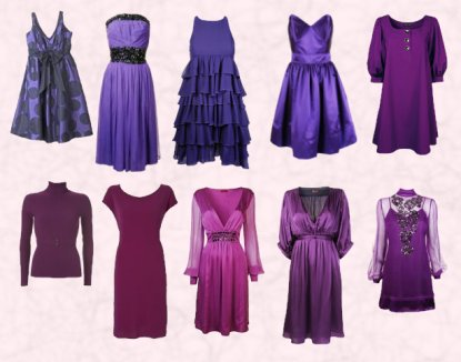 seelction of 9 purple autumn winter 2007 high street dresses all