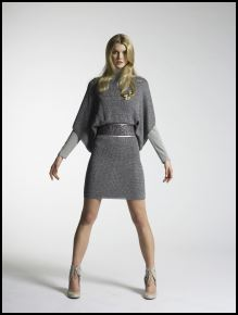 New Look Autumn/Winter 07/08 Collection - Womenswear Legend Silver lurex knitted dress £35/50€, Grey jersey polo neck £10/14.50€, Silver mesh belt £12/17€, Showgirl brooch £8/11€, Cream shoes £35/50€.