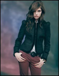Topshop - Black velvet puff sleeve jacket �65/�96, Claret skinny jean �40/�60, black skinny leather belt �22/�32