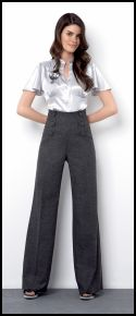 River Island Clothing Co. Ltd - A/W 2007 Womenswear, Satin Blouse £29.99/€50.50, High Waisted Trousers £39.99/€67.00