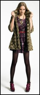 Animal trends -  Leopard fur swing coat �64.99, Louis print dress �59.99, flamingo charm necklace �24.99, skinny patent belt �12.99. Autumn/Winter 2008 Women's River Island Clothing Co. Ltd.