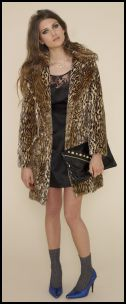 Animal trends - ASOS.com Womenswear Autumn/Winter 2008 - Leopard print fake fur coat �65, black satin dress with lace insert �35, black patent studded clutch �18, diamond look necklace �16, grey ankle socks �3, blue shoes �25.