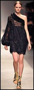 Catwalk one shoulder dress 2008 fashion history.