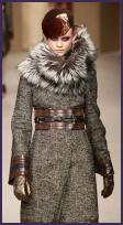 2008 Fashion History. Pollinini Winter Wool and Fur Collar Coat. Brown Leather Cuff and Belt Trim.