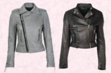 This grey leather zipped biker jacket is by design house Balenciaga and is available online from Matches at �1275. Dorothy Perkins Autumn/Winter 2008 collection leather jacket �100/�160.