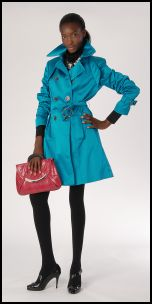 Marks & Spencer Teal Blue Double Breasted Belted Coat - 2008 Fashion History.