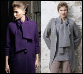 Wallis purple scarf wool coat �75/�95 from Wallis Autumn 2008 womenswear collection.  Wallis grey chunky knit tie cardigan knitwear from Wallis Autumn 2008 womenswear collection - �45 �70.