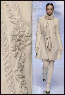 2008 Fashion History. Winter White Embellished Embroidered Coat & Detail - Blugirl.