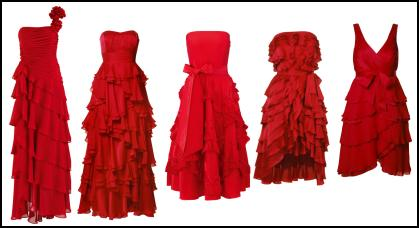 Fashion-era.com Autumn trends 2008 - Red and ruffled, frilled or tiered party prom evening wear dresses from the high street for autumn 2008.