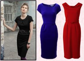 Wallis black dress.  Centre blue dress by L.K. Bennett at John Lewis. Tomato red dress  from Debenhams.