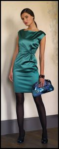 Sea green satin dress Late Autumn 2008 womenswear by Marks and Spencer. For Autumn 2008 Marks and Spencer also sell a classic V neckline black dress with a similar side swept feature.