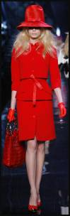 Dior classic red suit in tomato red - Fashion-era trends autumn 2008