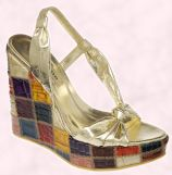 Shoe 10 - Patchwork wedge shoe Cuba, �135/�195 from Spring/Summer 2008 - Dune Ladies & Accessories.