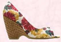 Shoe 8 - Basket weave raffia floral wedge shoe �10. In store beginning of April - Primark Summer Collection 2008.