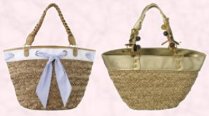 Basket with thread through fabric by New Look. Gold contrast edge basket by Dune Spring Summer 2008 Accessories Collection