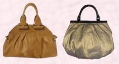 Tan Rocked bag by Dune in dark tan, £85/€120.  Billy Bag - Molly style burnished old gold tone handbag in balloon puffy framed style - £140 from the Cruise Collection, Winter 07/08.