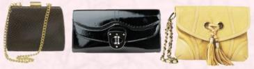 Wallis Spring Summer 2008 Accessories, Chocolate snake box clutch bag �15/�23.  Centre - Black leather patent envelope clutch bag by Alexander McQueen, and available from Matchesfashion.com at �245.  Right - River Island Clothing Co. Ltd, Summer 2008 Accessories - Yellow clutch handbag �29.99.