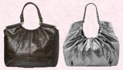 allis Spring summer 2008 black oversized lizard tote shopper £30, €47. Silver tote from New Look.