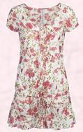 Fashion-era.com trends 2008 - River Island Clothing Co. Ltd floral dress in white and pink red dolly flower print.