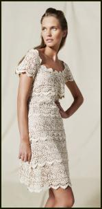 Cream tiered lace dress.